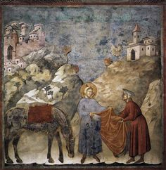 St. Francis Giving his Mantle to a Poor Man - 1297-1300   - by Giotto - Legend of St Francis Series. Location: San Francesco, Upper Church, Assisi, Italy