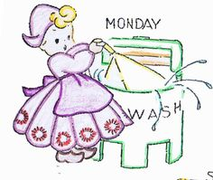 Days of the Week vintage embroidery pattern