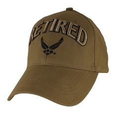 86ce225bf Please enjoy this officially licensed US Air Force Retired 3D Coyote Brown  Ball Cap. This