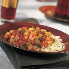 Moroccan Chickpea-and-Vegetable Stew | MyRecipes.com. I use half the amount of chickpeas for better balance & substitute vegetable broth to make this a vegetarian dish