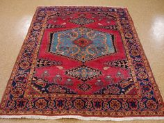 5 x 7 PERSIAN VISS TRIBAL Hand Knotted Wool REDS BLUES Oriental Rug Carpet…