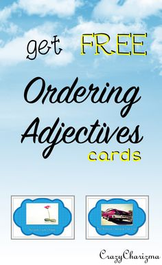 FREEBIE. Ordering Adjectives printables to use in ELA, EFL or ESL classroom. L.4.1.d. #crazycharizma