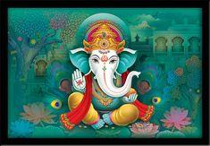 Ganesha Painting, Ganesha Art, Lord Ganesha, Ganesha Pictures, Diy Canvas Art, Indian Art, Painting Frames, Art Pictures, Framed Art