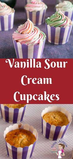 Moist Vanilla Sour Cream Cupcakes with Sweet Cream Buttercream