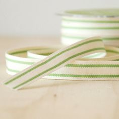 """5 Yards Organic Cotton Ribbon Green Stripe French Style Celery Green 5/8"""" Natural Cotton Twill Tape"""