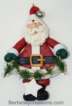 Santa With Garland Ornament 3
