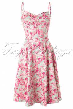 Nieuwe Collectif collectie ~ De Fairy Flamingo Dress Blue and Pink is een vrolijke zomer jurk met een prachtige kleurige flamingo print. De top is geplooid, heeft met stof gevoerde cups en schattige roze hartjes knoopjes. Verstelbare spaghetti bandjes en aan de achterzijde voorzien van elastisch smock voor een perfecte pasvorm met wijder uitlopende rok - te dragen zonder petticoat - en uitgevoerd in een katoen met een fijne stretch. Geen rits, je trekt hem over je hoofd aan...
