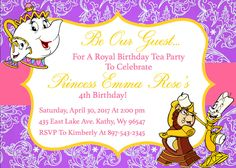 Beauty and the Beast - Princess Belle - Birthday Tea Party Invitation Download - 5 x 7 inches by jzoet on Etsy