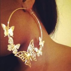 Hip Hop Fashion Gold Hoop Earrings w Beautiful Butterflies Crystal Bling | eBay