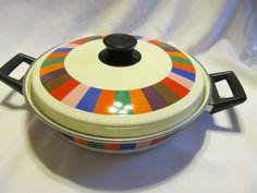 Vtg San Remo Imperial Rainbow Stripes Enamel Casserole Replacement Part | eBay
