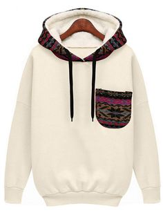 White Hooded Long Sleeve Patterned Pocket Sweatshirt -SheIn(Sheinside)
