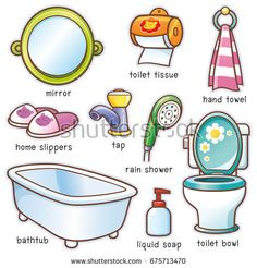 Vector illustration of Cartoon Bathroom accessories vocabulary