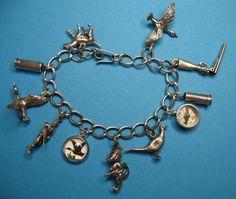 Vintage Sterling Silver Hunting Themed Charm Bracelet ~Rare~