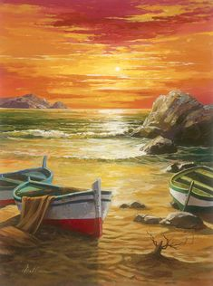 """Setting into the Sea"" Oil painting on canvas by Anatoly Metlan. - Park West Gallery #OilPaintingOnCanvas"