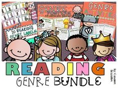 Reading genre posters, labels, student activities, matching game, surveys, genre hunt, quiz and more!