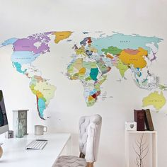 This detailed Large World Map wall sticker is perfect for the well-travelled individual. ----- [THE PACK CONTAINS] 1x Large World map vinyl sticker (Country Names and capitals are printed into this design.) 20x Pins to position on the map wherever you like 1x Set of detailed