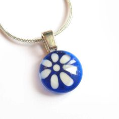Blue flower pendant  hand painted glass  by azurine on Etsy, $20.00