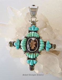 25% OFF!   D Troutman Kingman Turquoise Smokey Topaz and Sterling Silver Cross Pendant
