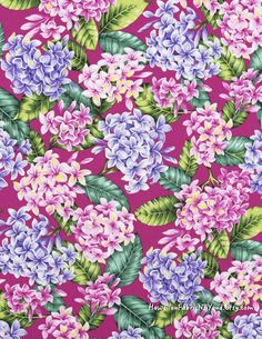 Fabric: Beautiful tropical fabric - dresses, valance, tablecloth, apron, placemat... Plumeria clusters in pinks and lavender on a fuchsia background. Cotton. By HawaiianFabricNBYond.Etsy.com