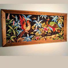 Cadre+broderie+jungle+tropicale+décoration+murale