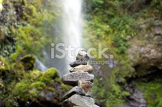 Stone Cairn with distant Waterfall Royalty Free Stock Photo Stone Cairns, Waterfall Photo, Image Now, Zen, Royalty Free Stock Photos, Photography, Photograph, Fotografie, Photoshoot