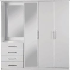 Buy Vancouver 4 Door 3 Drawer Mirrored WardrobeWhite at Argos