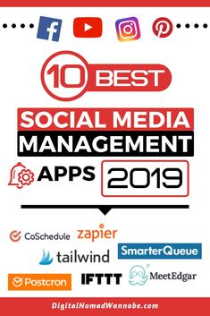 10 Best Social Media Management Apps In 2019 - Digital Nomad Wannabe Best Social Media Apps, Social Media Marketing Manager, Social Media Management Tools, Social Media Analytics, Types Of Social Media, Facebook Marketing, Marketing Strategies, Marketing Tools, Business Marketing