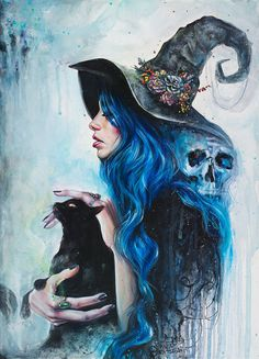 Acrylic portrait painting of a witch and her cat. Click through for prints of this artwork (cards, phone cases etc. dibujos brujas Blue Valentine Art Print by tanyashatseva Fantasy Kunst, Fantasy Art, Fantasy Witch, Dark Fantasy, Art Noir, Illustration Art Nouveau, Skull Illustration, Halloween Illustration, Arte Obscura