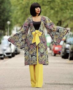 ankara mode Thanks for stopping by! A classic ankara fabric made into a jacket and pants with exagerated sleeves and a belt at the waist to give more fitting. This outfit is made from qual Latest Ankara Dresses, Ankara Dress Styles, Latest Ankara Styles, Latest African Fashion Dresses, African Print Dresses, African Print Fashion, African Wear, African Attire, African Dress