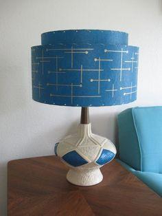 Mid Century Vintage Style 2 Tier Fiberglass Lamp Shade Modern Atomic Retro TEAL1 | eBay