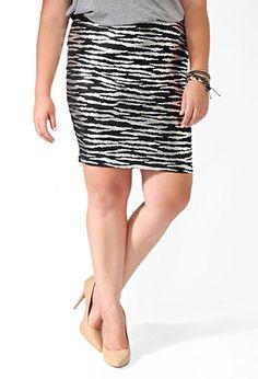 Metallic Static Stripe Skirt   FOREVER21 PLUS - 2019571318