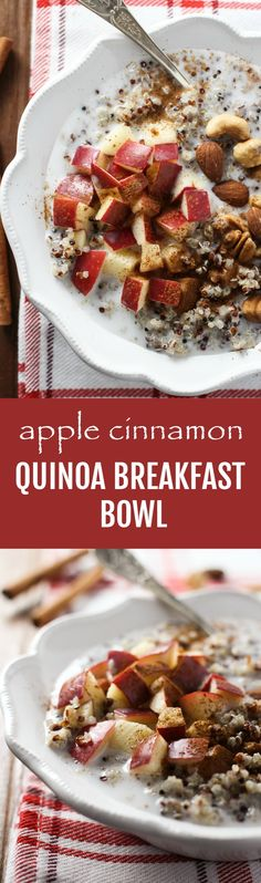 This healthy Apple Cinnamon Quinoa Breakfast Bowl is super easy to make. It's very filling and full of plant protein, fiber, healthy fat, vitamins, and minerals. Naturally gluten-free, vegetarian or vegan. #apple #cinnamon #quinoa #breakfast #cleaneating #recipe #healthy #realfood #plantbased #glutenfree