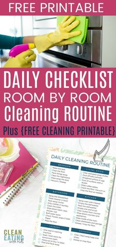 Easy room by room daily cleaning routine checklist and includes free printable. Cleaning Checklist Printable, Routine Printable, Daily Checklist, House Cleaning Checklist, Weekly Cleaning, Cleaning Hacks, Cleaning Room, Cleaning Routines, Cleaning Schedules