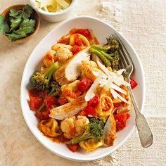 This quick and cozy Chicken Tortellini Toss is a perfect weeknight dinner: http://www.bhg.com/recipes/pasta/easy-pasta-recipes/?socsrc=bhgpin011614chickentortellinitoss&page=12