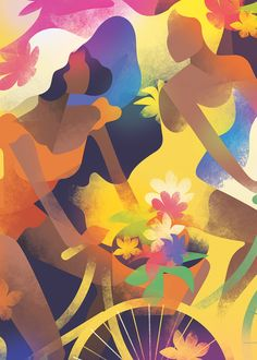 Mads Berg, Brazilian bike race for girls Pop Art, Inspiration Art, Forest Illustration, Art Deco Posters, Modern Art Deco, Naive Art, Art Techniques, Figurative Art, Art Deco Fashion
