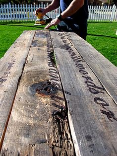 other idea for table, or down the road outside table-DIY Driftwood Art - with vinegar and steel wool stain