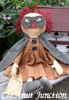Trick R Treat Annie epattern - primitive halloween raggedy doll craft pattern - PDF - 3.99