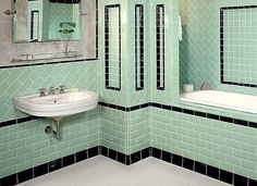 32 Vintage Bathroom Decoration You& Love Homiku com is part of Art deco bathroom tile Make sure that the wall decorations, paint color and the background you choose send the appropriate messages - 1930s Bathroom, Art Deco Bathroom, Bathroom Tile Designs, Classic Bathroom, Vintage Bathrooms, Small Bathroom, Bathroom Green, Bathroom Ideas, Turquoise Bathroom
