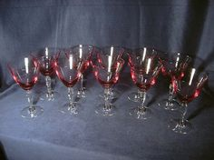 10 vintage wisteria tiffin wine glasses in fuscia. Just bought these on Ebay to go with my pink rose Haviland china. Can't wait for them to get here!!!