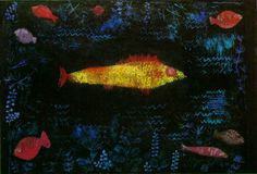 """expressionism-art: """" The Goldfish by Paul Klee Size: 49.6x69.2 cm Medium: oil, watercolor, paper"""""""