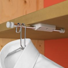 The Pull Out Mini Rod from Ambos can be attached to a wall or under a shelf (as shown here). Keep it retracted most of the time, and extend it out (as seen here) to provide a handy spot to hang items while you change, or even while you give them a quick steam. Ideal for wardrobes, bedrooms, bathrooms, pool changing room, or anywhere you might be donning or removing clothing.