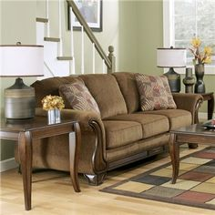 Sofas on pinterest fabric sofa sofas and loveseats for Montgomery mocha living room set
