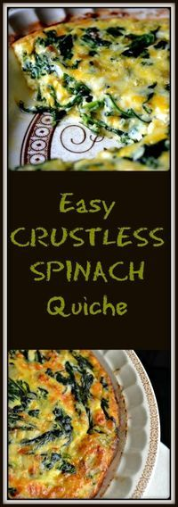 If you have frozen spinach eggs cheese and ONE onion you can make this recipe for a Simple Easy Crustless Spinach Quiche. If you have frozen spinach eggs cheese and ONE onion you can make this recipe for a Simple Easy Crustless Spinach Quiche. Breakfast Quiche, Breakfast Dishes, Breakfast Recipes, Breakfast Casserole, Breakfast Ideas, Spinach And Eggs Breakfast, Brunch Ideas, Egg Recipes For Dinner, Bacon Breakfast