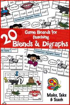 20 colorful game boards for teaching blends and digraphs. Great for centers or for small group instruction!