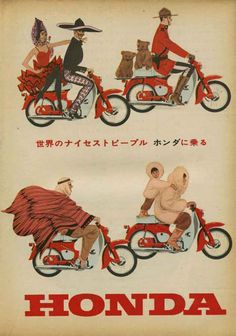 Vintage Honda Motorcycle Ad - notice the RCMP officer Bike Poster, Motorcycle Posters, Motorcycle Art, Motorcycle Design, Bike Art, Poster Ads, Classic Honda Motorcycles, Honda Bikes, Vintage Motorcycles