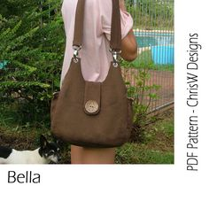 Purse PDF pattern Handbag sewing tutorial - Bella, handmade floral handbag, tote or shoulder bag via Etsy