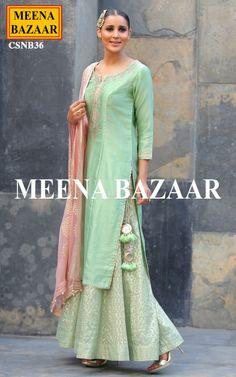 Pista Chanderi Sharara Suit - Salwar Kameez Online Shopping For Ethnic Wear: Buy…
