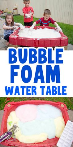 Bubble Foam Water Table: An Outdoor Activity - Busy Toddler Outdoor Activities For Kids, Toddler Learning Activities, Sensory Activities, Infant Activities, Outdoor Activities For Toddlers, Outdoor Fun For Kids, Children Activities, Sensory Play, Outdoor Play