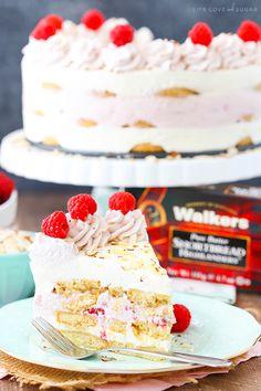 Raspberry Almond Shortbread Icebox Cake - layers of Walkers shortbread, almond…