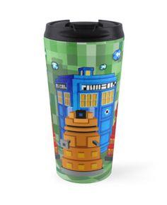 8bit Robot Droid Dalek with blue phone box Travel Mugs #travelmugs #mugs #tardis #doctorwho #8bit #sttarynight #dalek #cyberman #art
